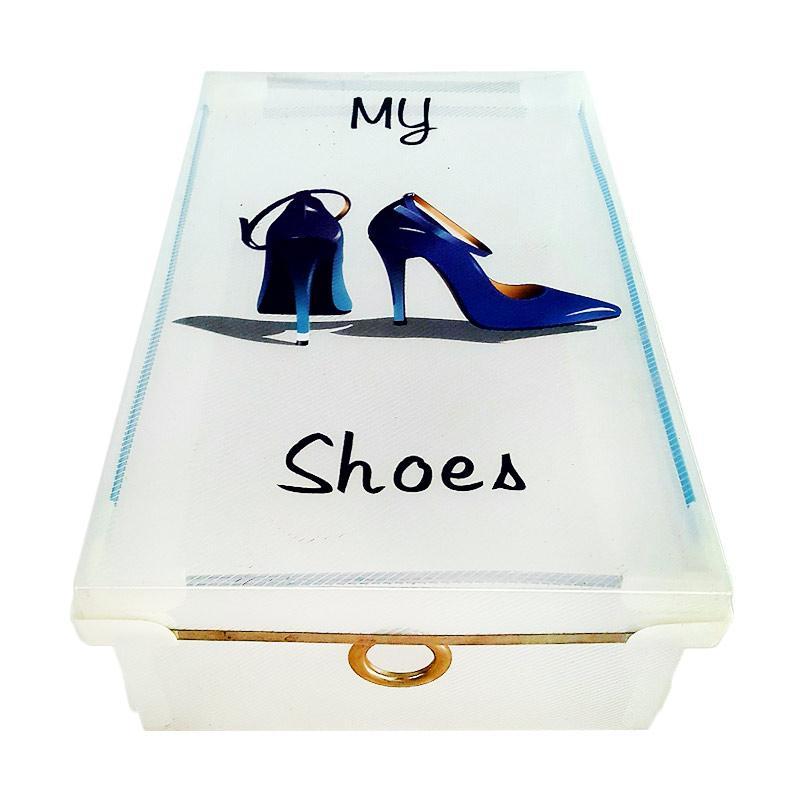 harga Miracle Kotak Sepatu Bukaan Atas dengan List Metal dan Sudut Plastik - Transparan dengan Printing [Size M/ 5 pcs] Blibli.com