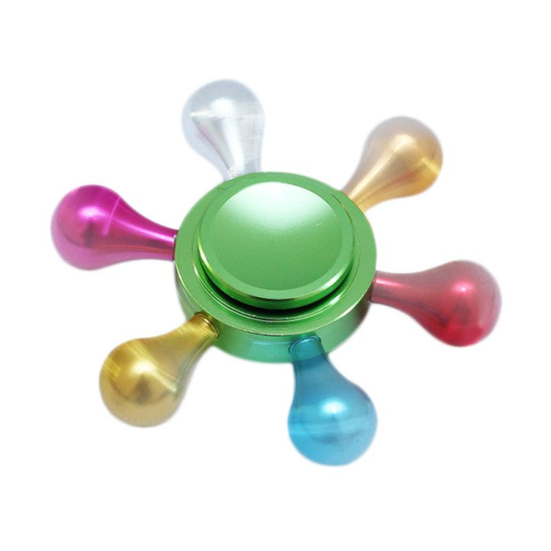 Premium Fidget Spinner A6 Hexagon 6 sisi Permainan Edukasi - Rainbow