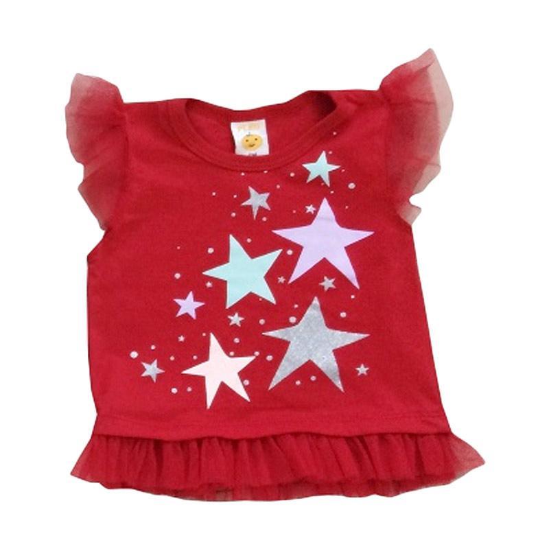 PLEU Blus Bintang Pakaian Anak Perempuan - Red
