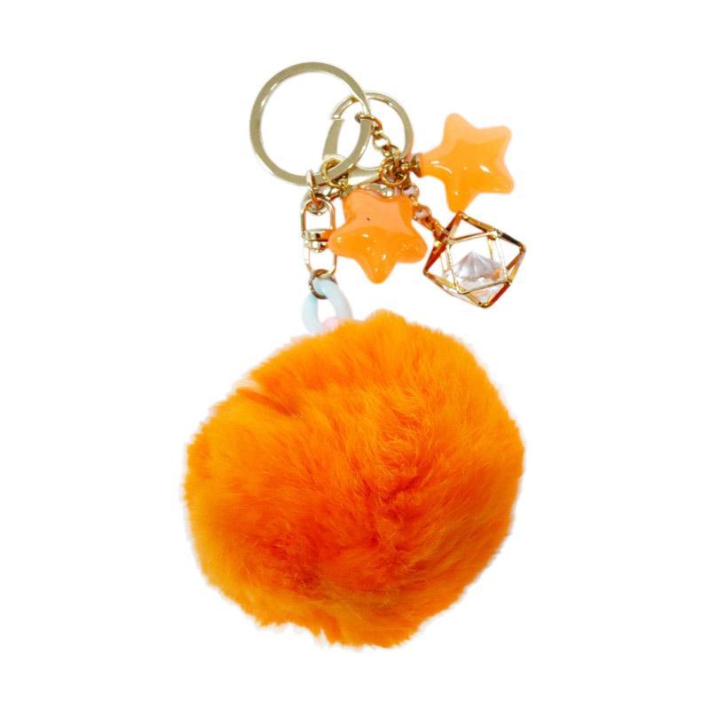 SIV BB03 Bulu kombinasi Bintang Key Chain - Orange