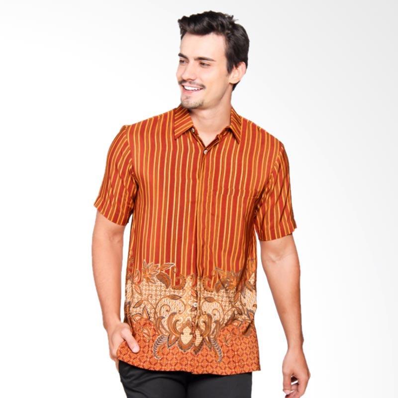 Batik Heritage Royal Peach Salur Bunga Slim Fit Batik Pria - Kuning