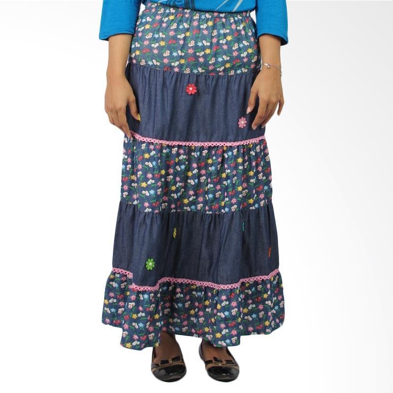 4 You Flower Long Skirt - Navy