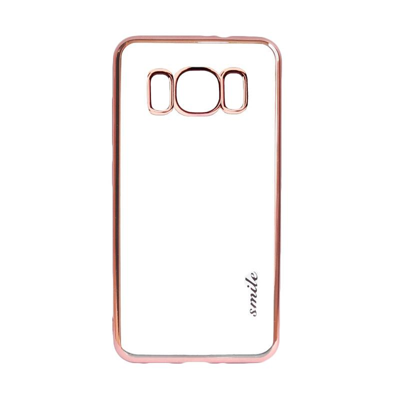 SMILE Ultrathin Shining List Chrome Softcase Casing for Samsung Galaxy S8 - Rose Gold