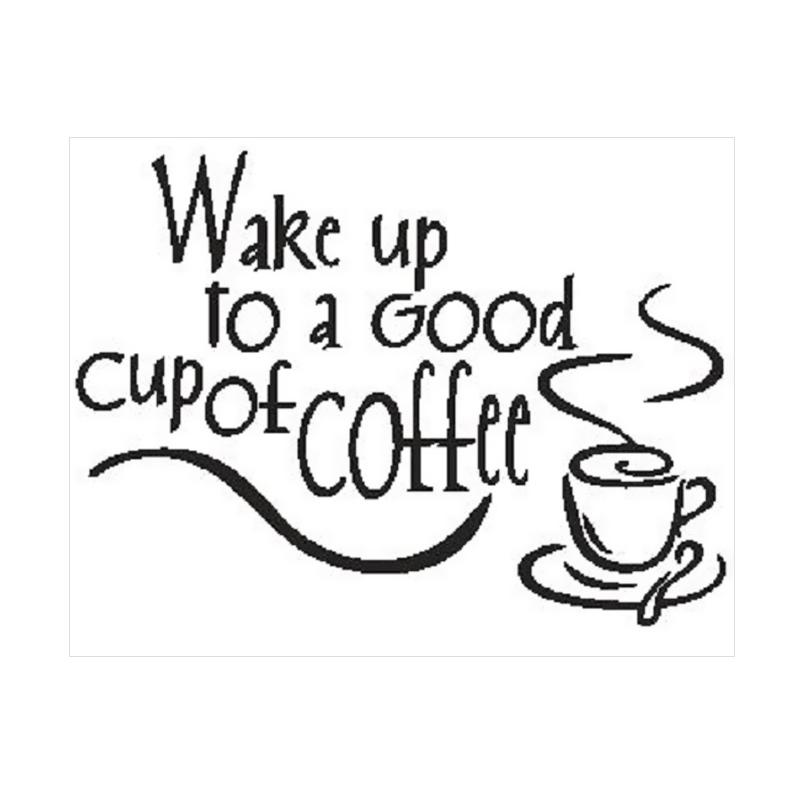 OEM Quotes Wake Up Good Coffee Wall Sticker Dekorasi Dinding