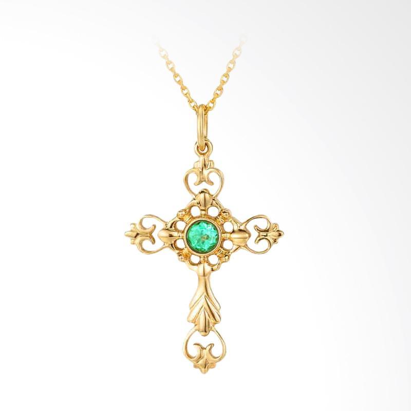 Tiaria Armonia Emerald Cross Perhiasan Kalung Emas [18K]