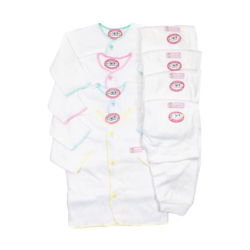 Luvita Setelan Baju Panjang dan Celana Panjang Bayi - Putih [4 Set/Newborn]