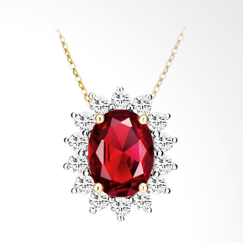 Tiaria 18K Radiant Shine Red Garnet Yellow Gold Perhiasan Kalung Emas
