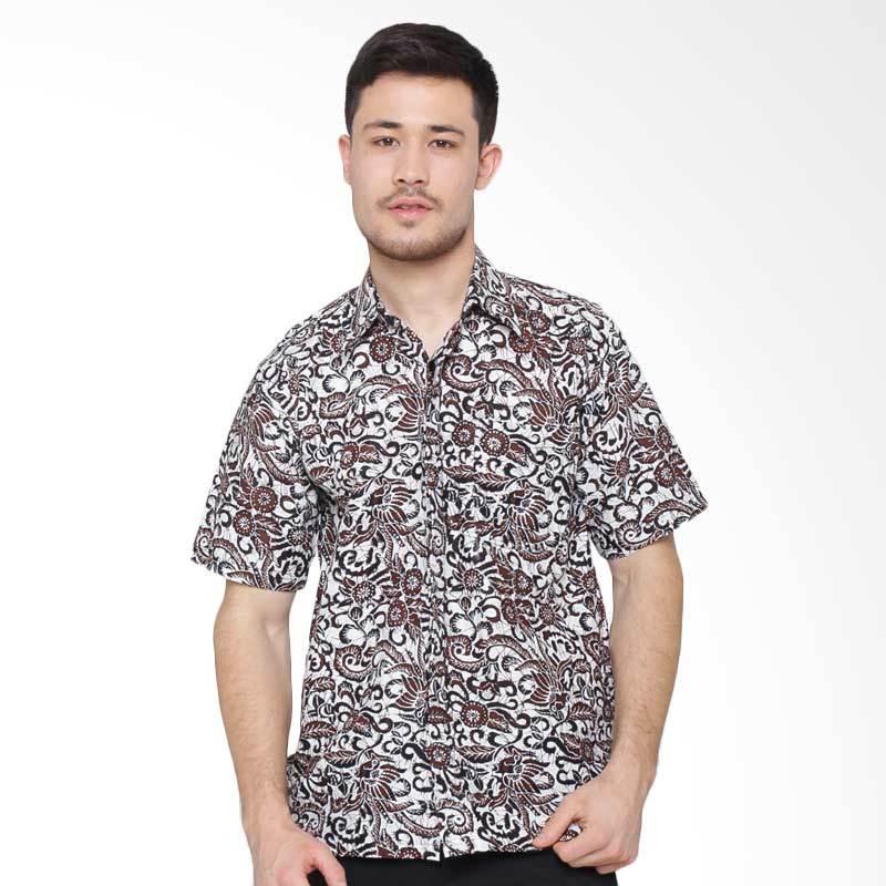 Jening Batik Short Sleeve Kemeja Pria - White Brown RAFA-004