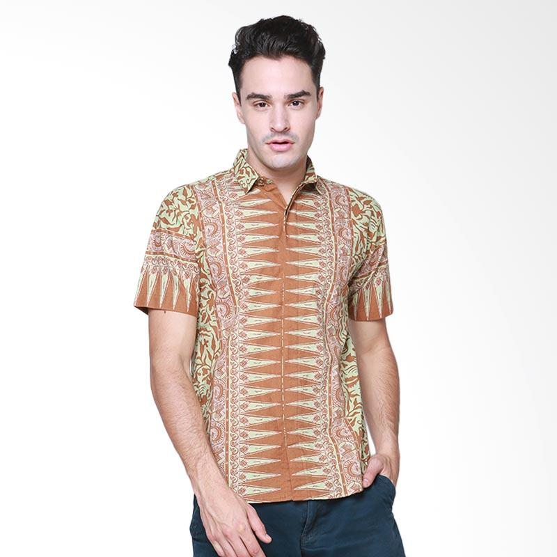 Days by Danarhadi Men Lung Segoro Pale Horizontal Baju Batik Pria - Green