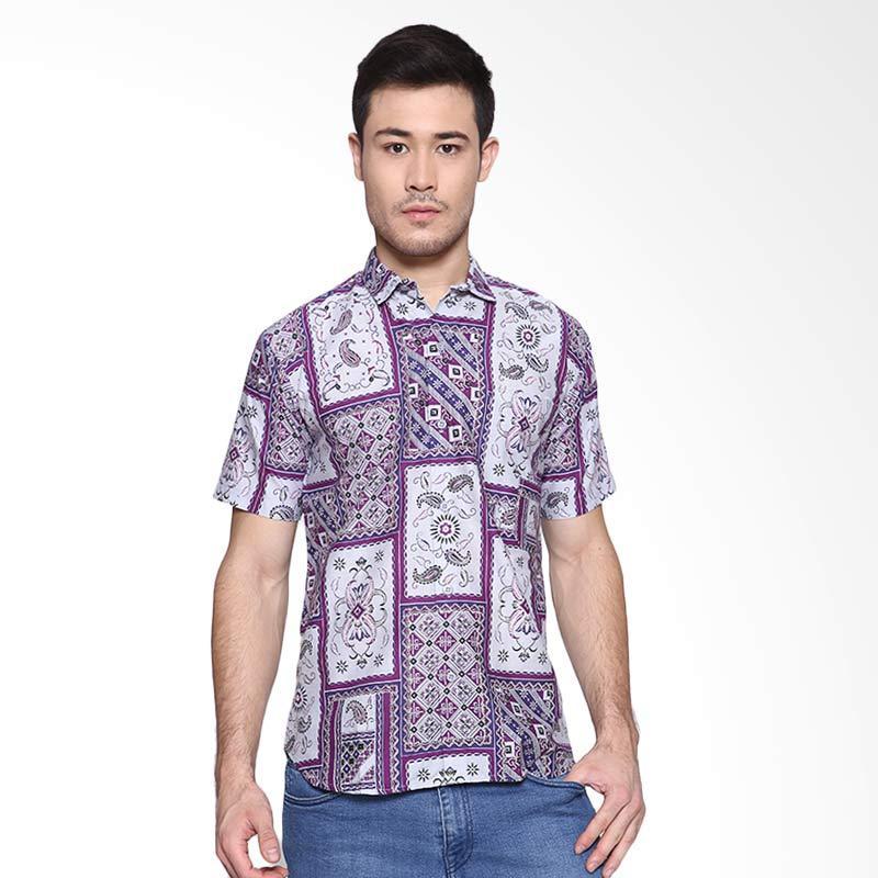 Days by Danarhadi Men Kotak Asimetris Baju Batik Pria - Dark Purple