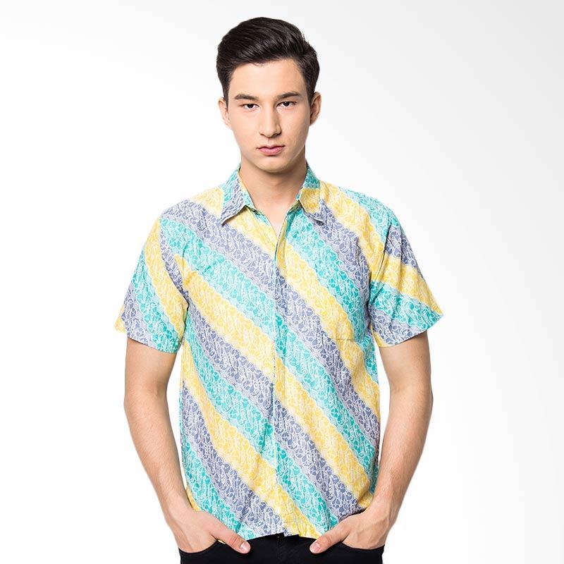 Jening Batik Slim Fit Short Sleeve Baju Batik Pria - Green Yellow JNG008