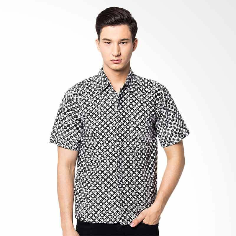 Jening Batik Short Sleeve Slim Fit Batik Pria - Black JNG010