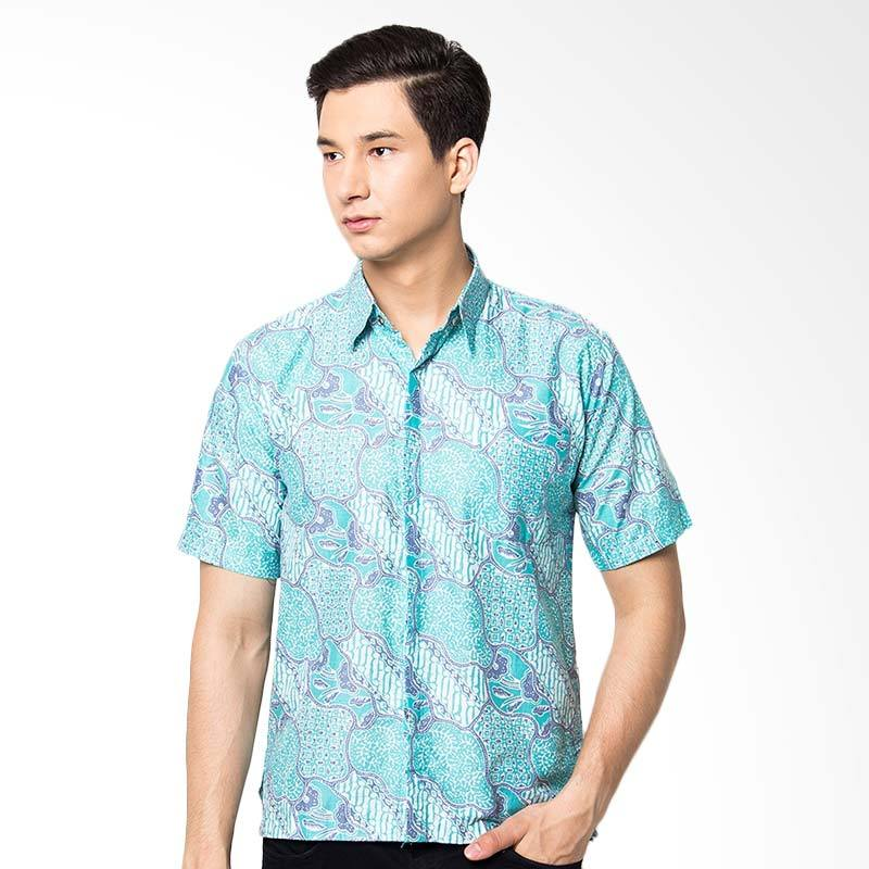 Jening Batik Slim Fit Short Sleeve Baju Batik Pria - Green JNG011