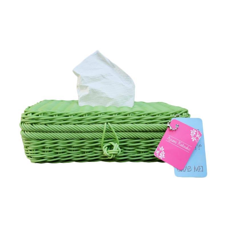 Ayumi Katsuko Rotan Sintetis Tissue Box - Green