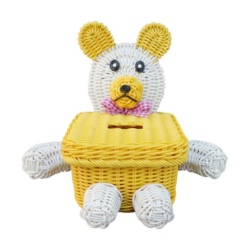 Ayumi Katsuko Dog Rotan Sintetis Tissue Box - Yellow
