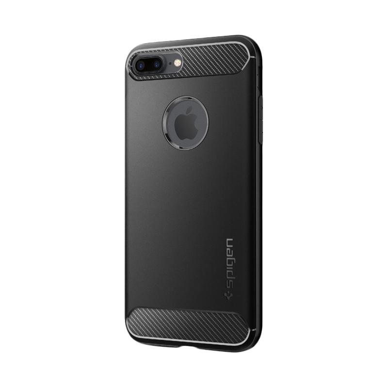 Spigen Rugged Armor Carbon Fiber Design Casing for iPhone 7 Plus 2016 - Black