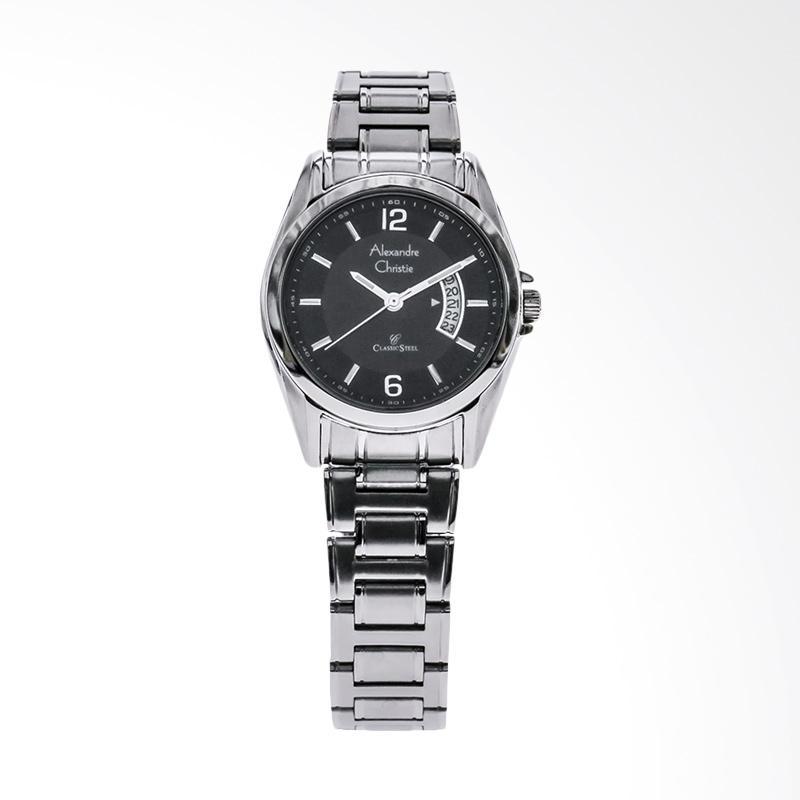 Alexandre Christie ACF-8289-LDBSSBA Black Dial Stainless Steel Jam Tangan Wanita - Silver