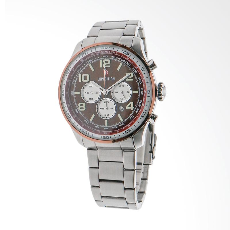 Expedition Man Chronograph Brown Dial Stainless Steel Jam Tangan Pria - Silver EXF-6728-MCBTNBORE