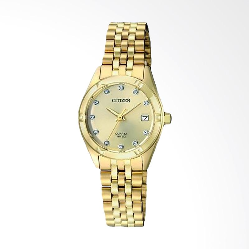 Citizen EU6052-53D Quartz Mother Of Pearl Dial Watch Jam Tangan Wanita - Gold