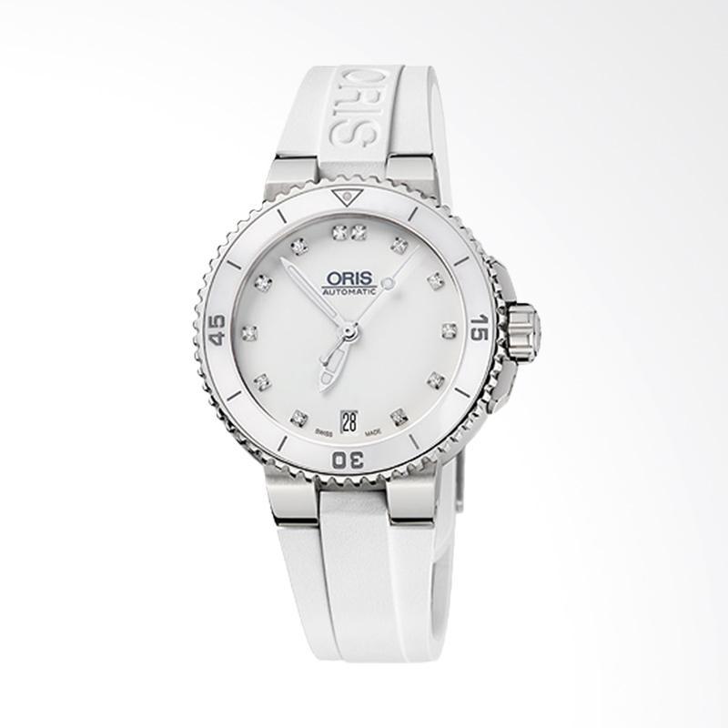 ORIS 733 7652 4191 RS 4 18 31 Aquis Date Diamonds Rubber Strap Jam Tangan Wanita - White