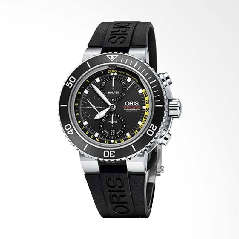 ORIS IV Aquis Depth Gauge Chronograph Rubber Strap Jam Tangan Pria - Black [77477084154SET42634EB]