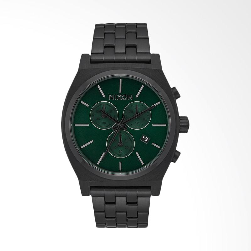 Nixon Time Teller Green Dial Stainless Steel Watch Jam Tangan Pria - Black A9722399