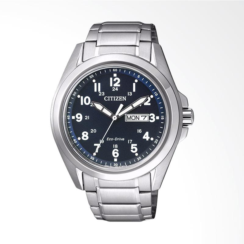 Citizen Men Eco-Drive Blue Dial Stainless Steel Day-Date Watch Jam Tangan Pria AW0050-58L