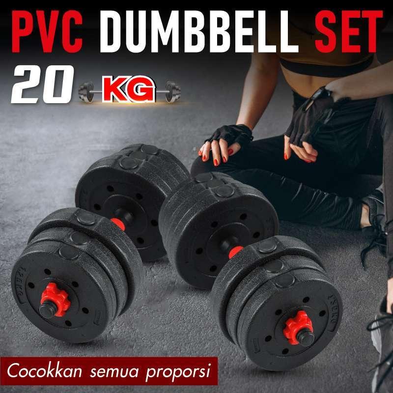 BG SPORT DUMBELL PVC 20KG / DUMBELL / ALAT ANGKAT BEBAN / BARBEL SET / ALAT OLAHRAGA MURAH