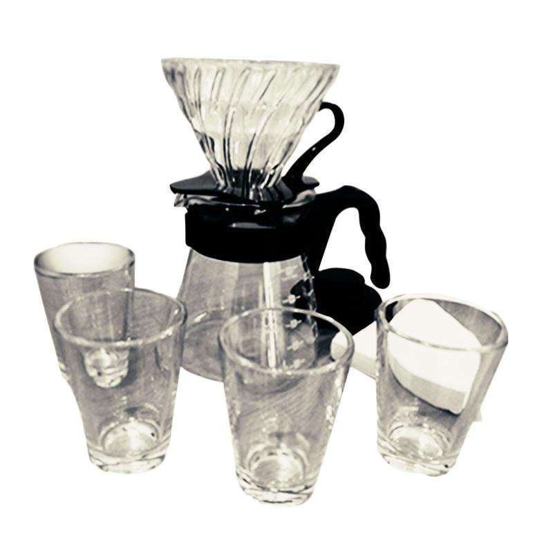Hario V60 Glass Pour Over Kit Set Perlengkapan Minum Kopi