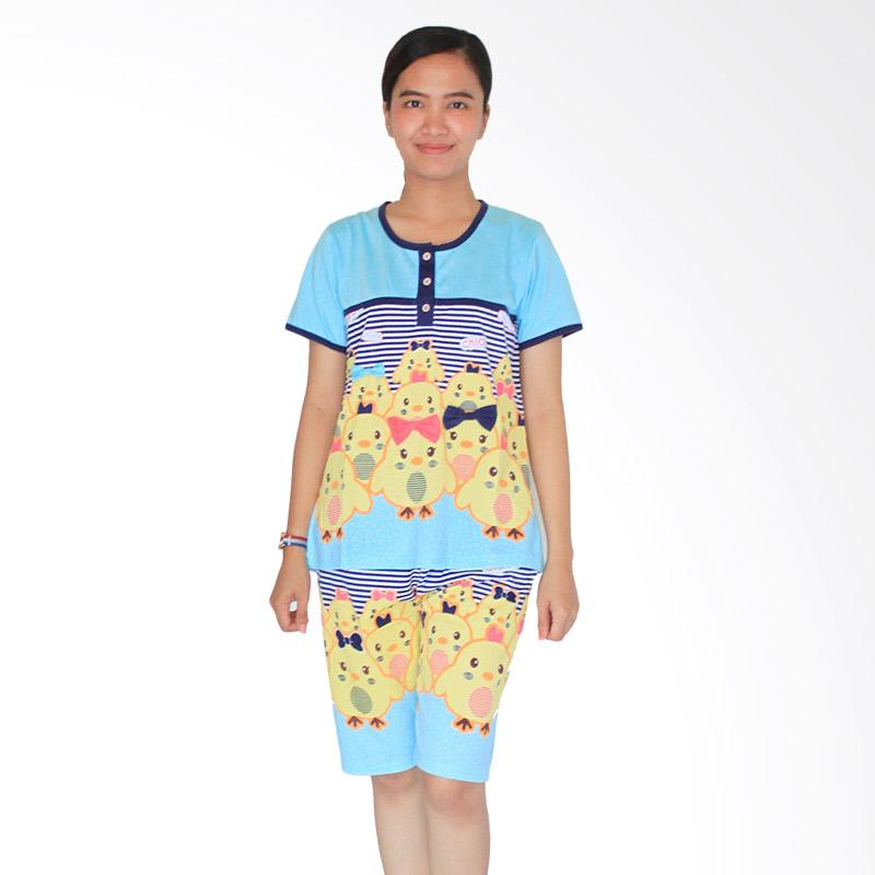Aily 3582 Setelan Baju Tidur Wanita & Celana Pendek - Biru