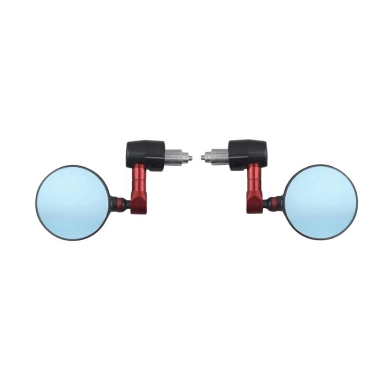 Raja Motor Jalu Bulat Cembung Biru CNC Kaca Spion Motor - Hitam Merah [SPI9122-Hitam-Merah]