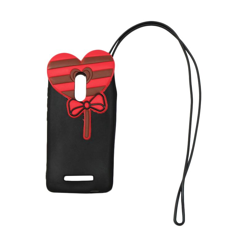 QCF Silicon 4D Candy Love Edition Softcase Casing for Xiaomi Redmi Note 3 with Tali Gantungan - Hitam