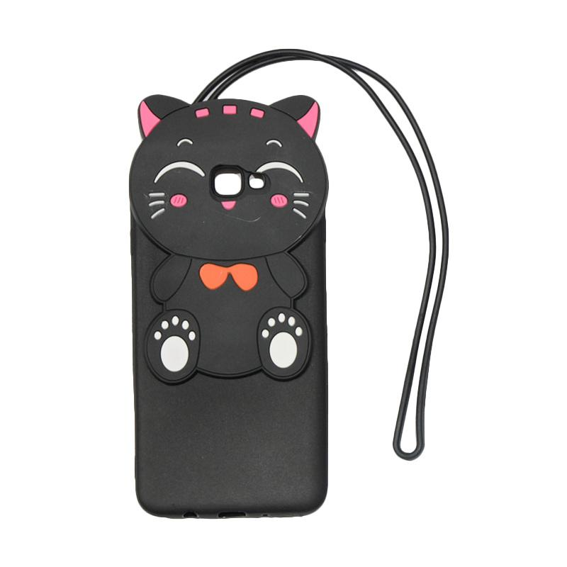 QCF Softcase 4D Silikon Case 4D Karakter Kucing Lucky Cat Edition Silikon Softcase with Kalung Tali Gantungan Casing for Samsung Galaxy J5 Prime - Black