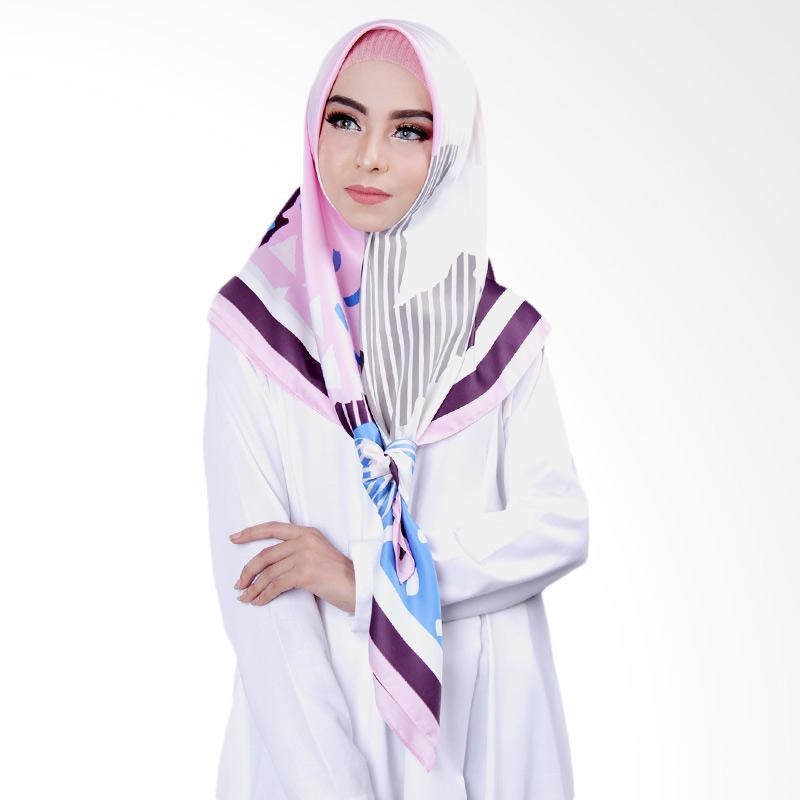 Cantik Kerudung No.1 Khloe Printed Square Shawl Jilbab Segiempat - Purple Pink