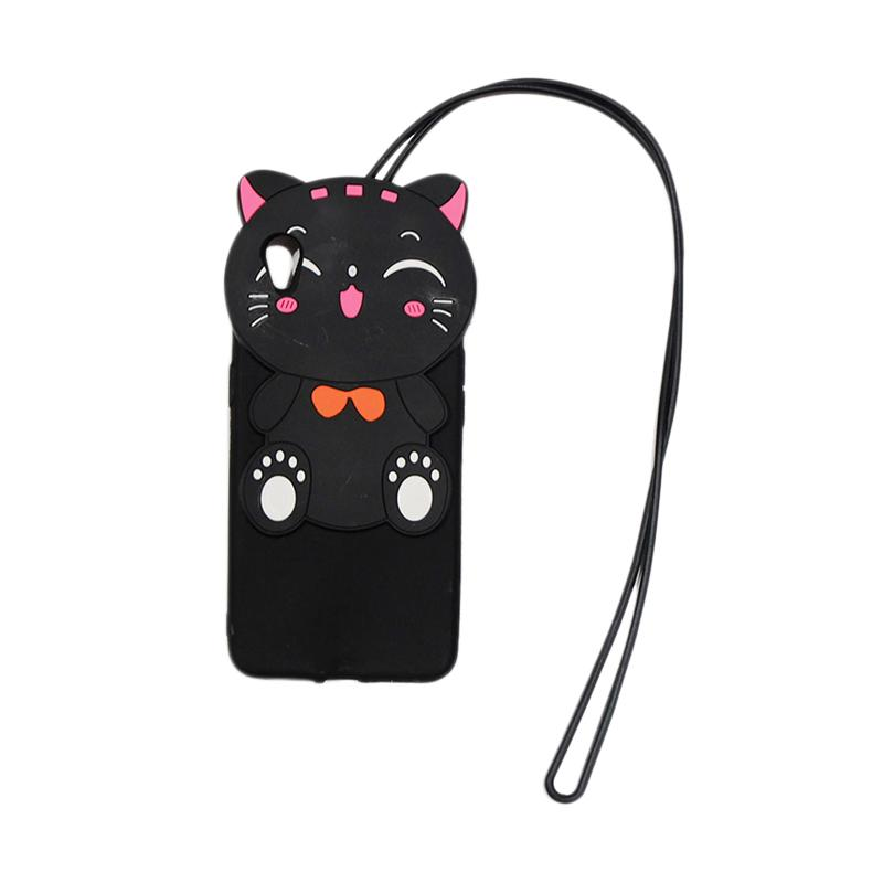 QCF Softcase 4D Silikon Case 4D Karakter Kucing Lucky Cat Edition Silikon Softcase with Kalung Tali Gantungan Casing for Oppo A37 / Neo 9 - Black