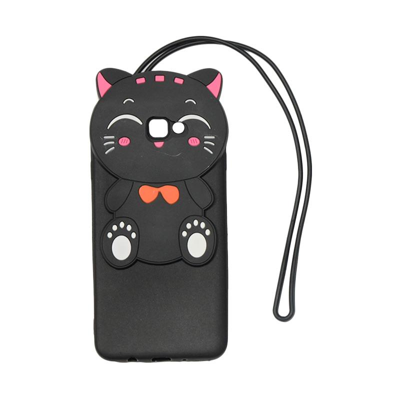 VR 3D Karakter Smile Cat Edition Silikon Softcase with Kalung Tali Gantungan Casing for Samsung Galaxy Grand J7 Prime - Black