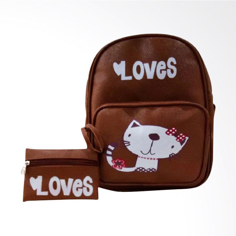 Chloebaby Shop S326 Cat Funny Kanvas Tas Ransel Bag - Brown