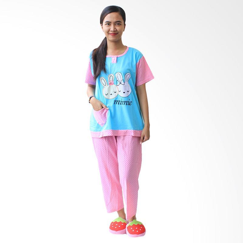 Aily SL042 Setelan Baju Tidur Wanita Celana Panjang - Biru