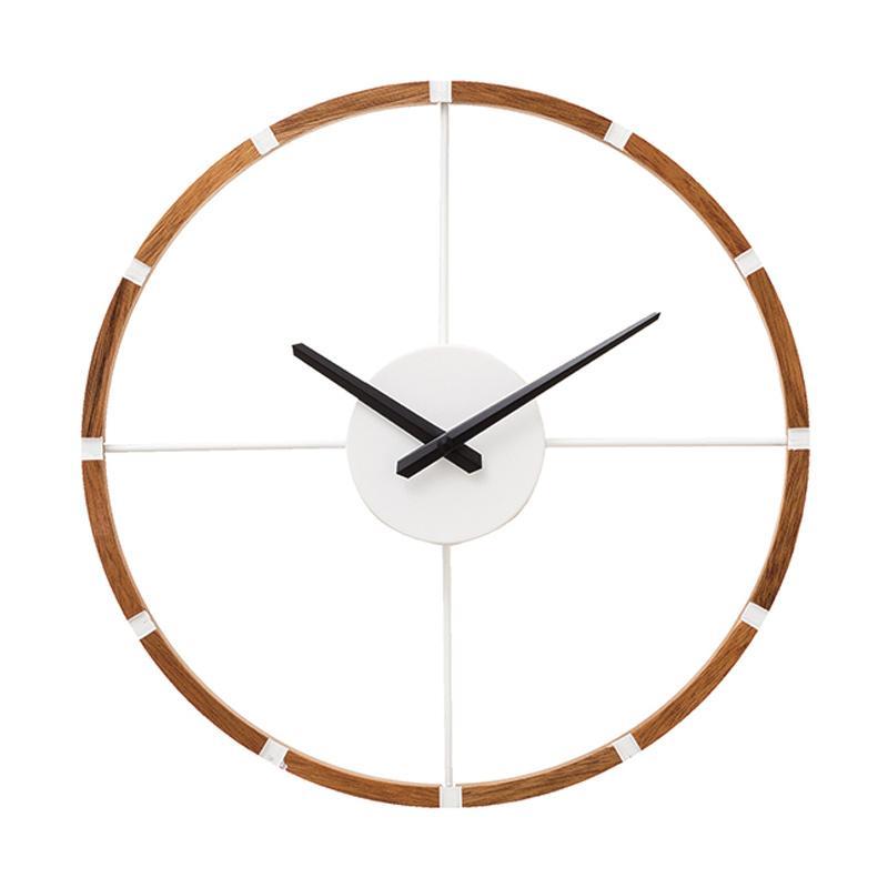 Zeller Life Skeleton Modern Home Decor Round Clock Shandrum Wooden Jam Dinding - White