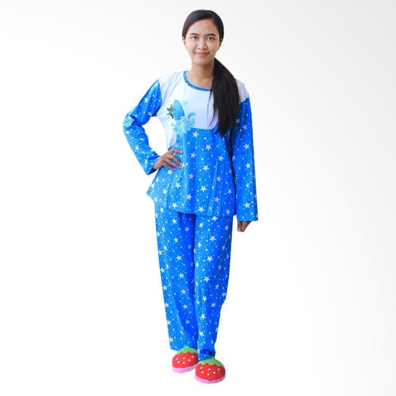 Aily 1052 Piyama Lengan Panjang Setelan Baju Tidur Wanita  - Biru