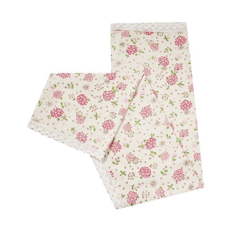 Tren-D-Home Bunga Katun Polyester Taplak Meja - Pink [150 x 180 cm]