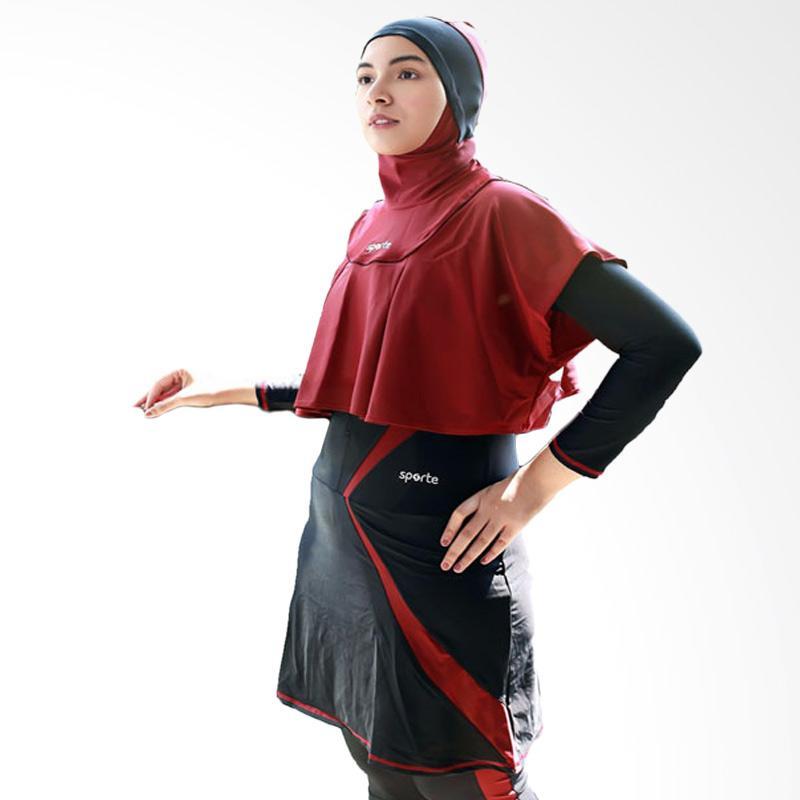 Jual SPORTE Baju Renang Muslimah - Hitam Maroon [SR 11] Online - Harga & Kualitas Terjamin | Blibli.com