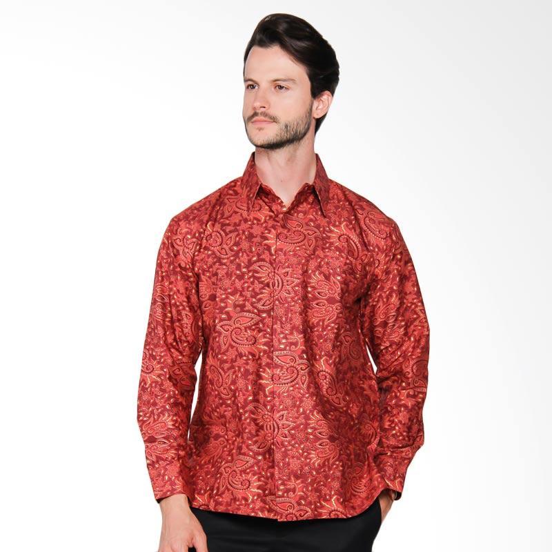 AWANA Modern Slim Fit Awana Parang Samudra Kemeja Batik Pria - Merah