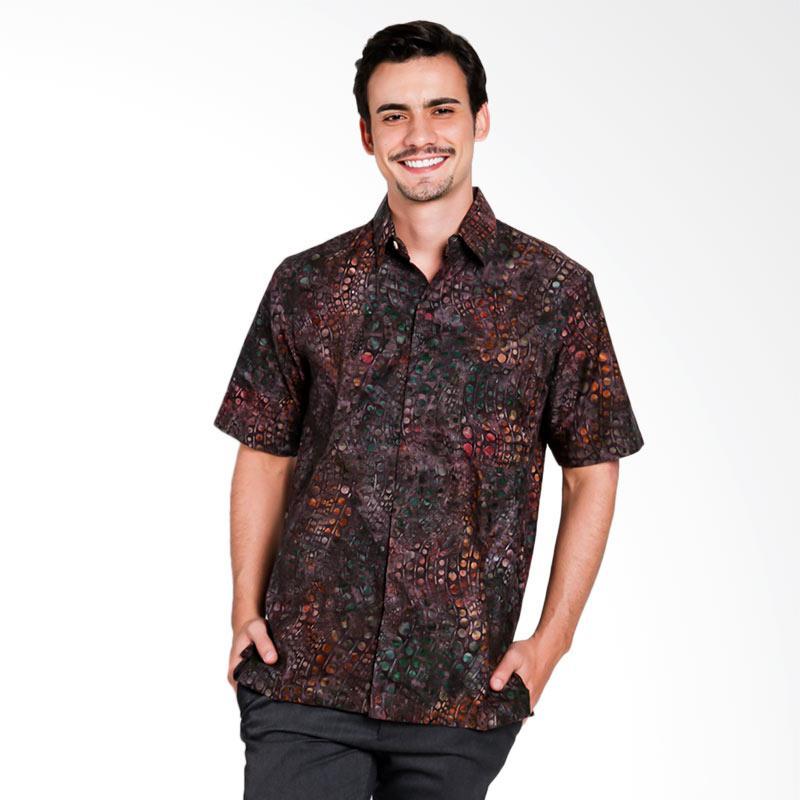 Batik Pria Tampan Kmpd Reg Abs Gradation Spot Stripe Kemeja Pria - Brown [PKMPD0383]