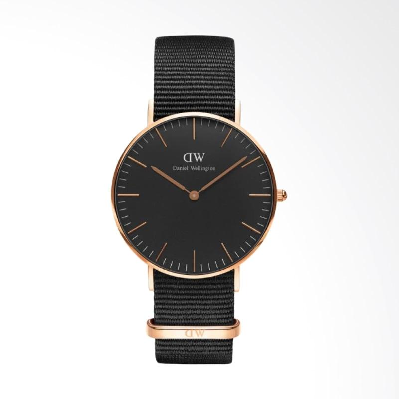 Daniel Wellington Classic Black Cornwall Strap Nylon Jam Tangan Wanita - Hitam Ring Rose Gold [36 mm]