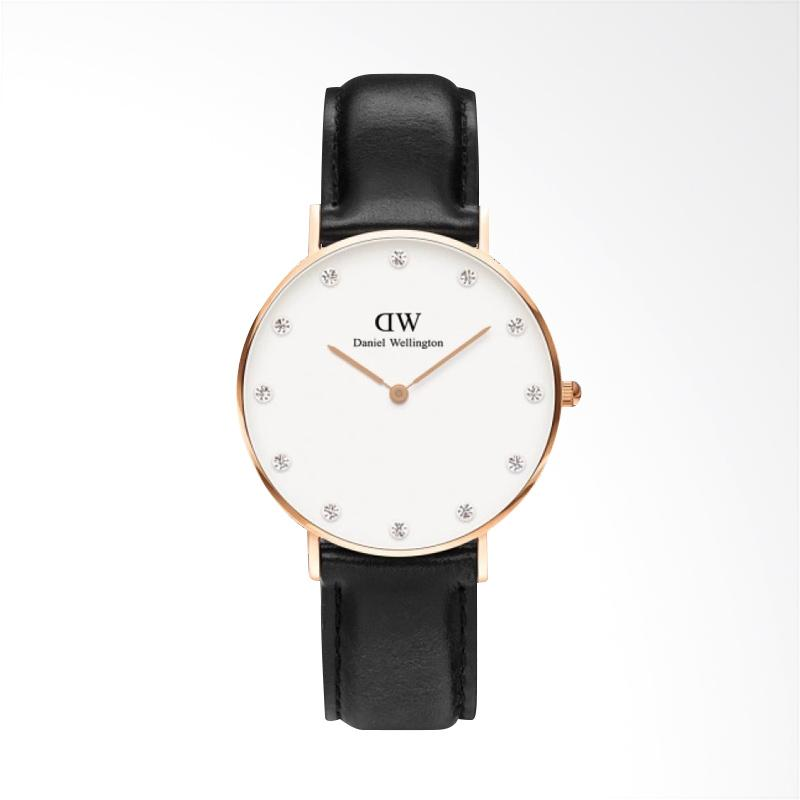 Daniel Wellington Classy Sheffield Swarovski Crystal Jam Tangan Wanita - Hitam Rose Gold [34 mm]