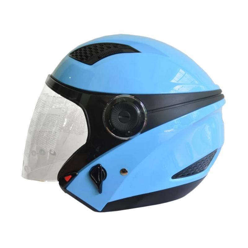 Zeus ZS-610K Polos Double Visor Helm Half Face - Biru Muda