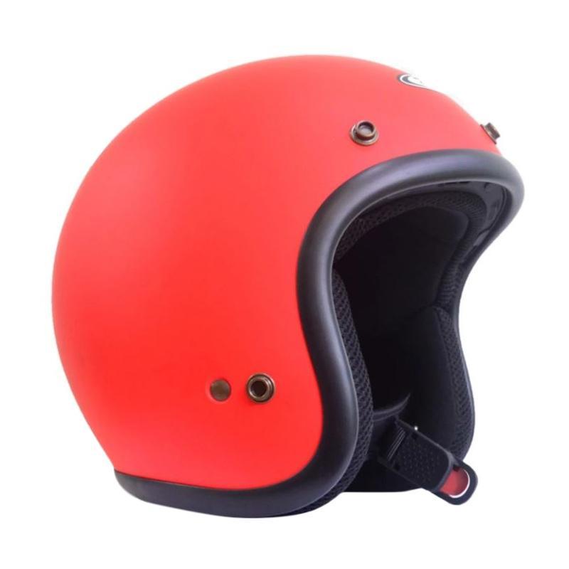 Zeus Retro ZS-385C Polos Helm Half Face - Merah Doff List Hitam