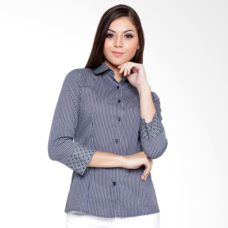 A&D Fashion MS 742 3/4 Sleeve Blouse Atasan Wanita - Black Stripe