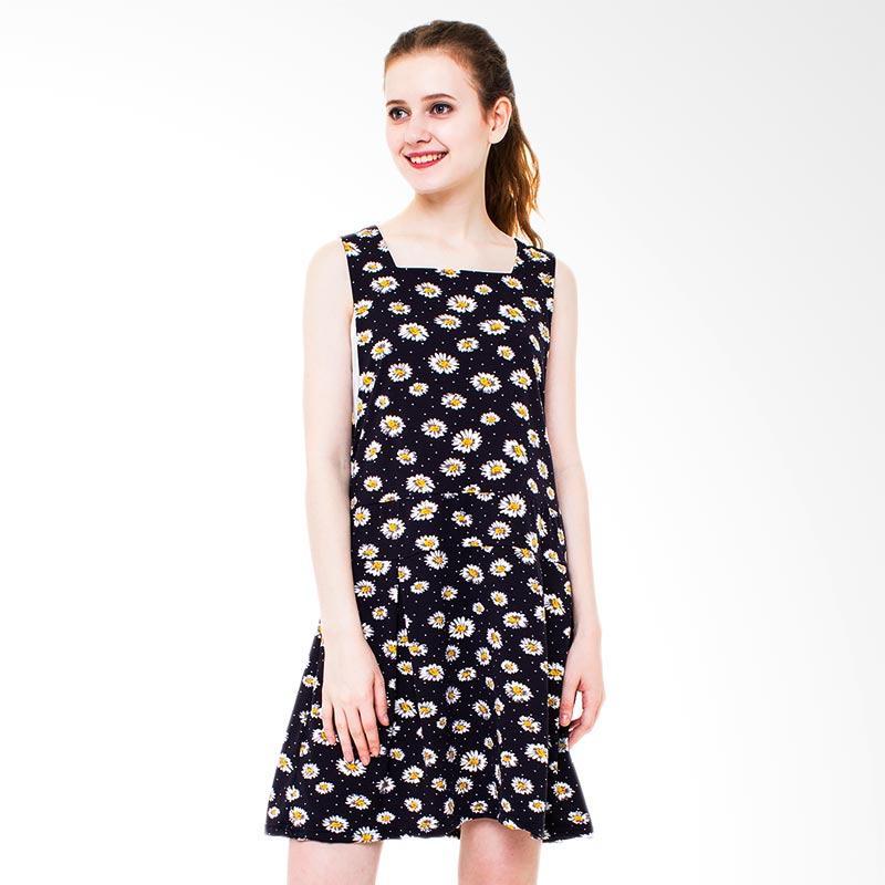 Boontie Shella Motif Dress Wanita - Navy